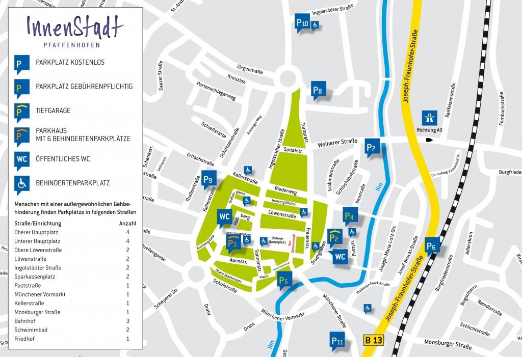 Innenstadt Pfaffenhofen mit Standort Festspielbühne und Parkmöglichkeiten